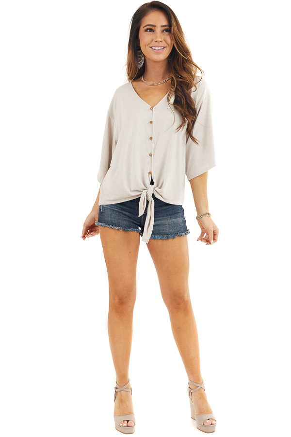 Latte Button Up Knit Top with Front Knot Detail front full body