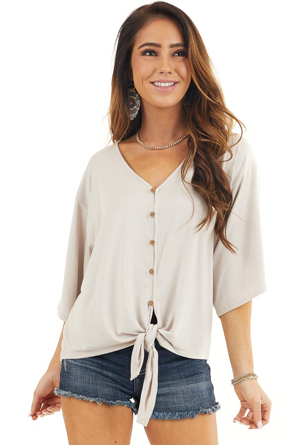 Latte Button Up Knit Top with Front Knot Detail front close up