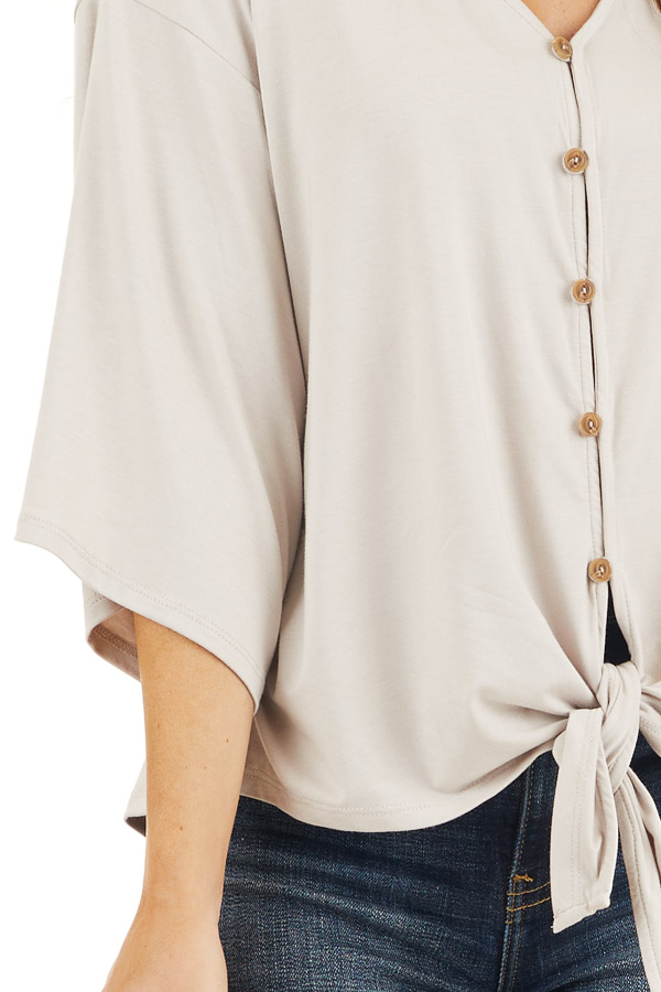 Latte Button Up Knit Top with Front Knot Detail detail