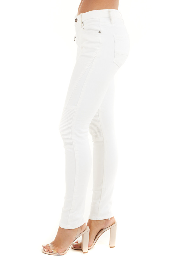 White Moto Skinny Jeans with Functional Pockets side view