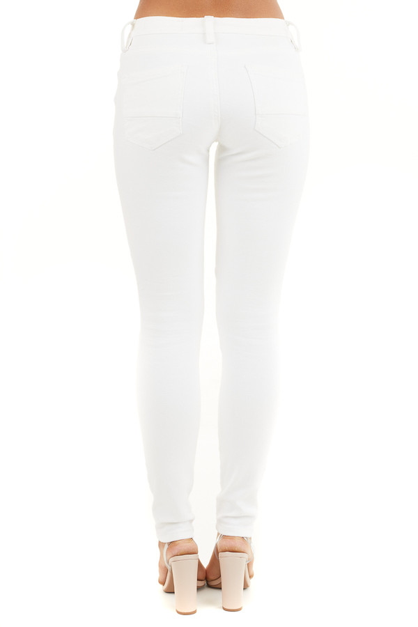 White Moto Skinny Jeans with Functional Pockets back view