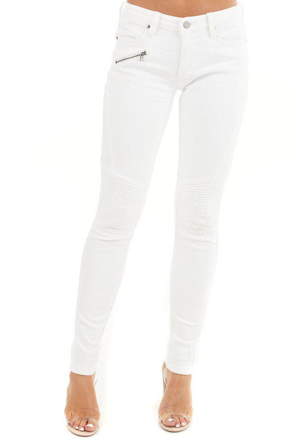 White Moto Skinny Jeans with Functional Pockets front view