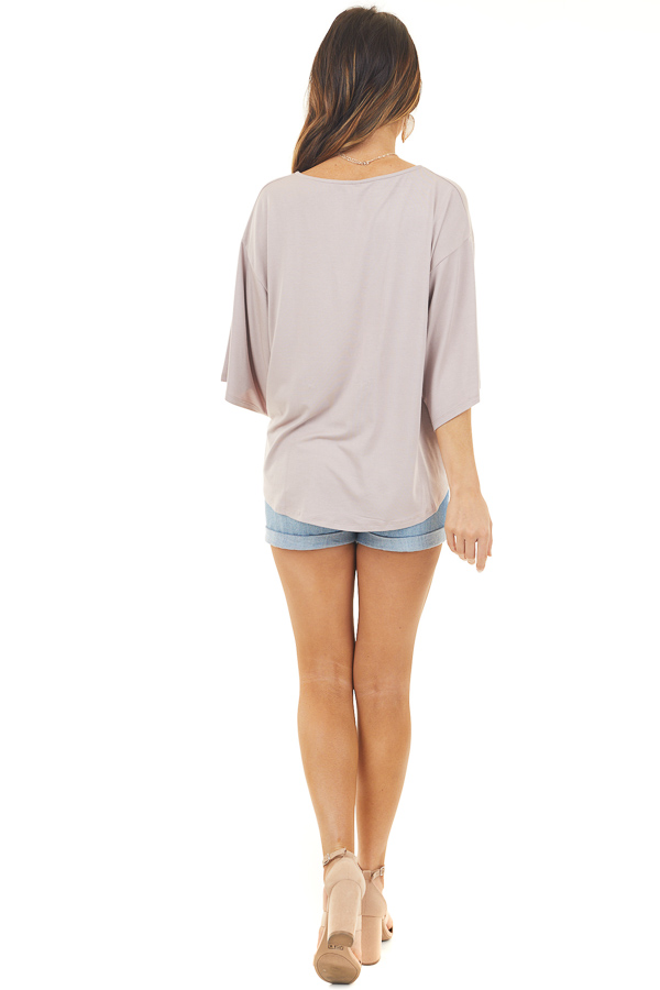 Mauve Button Up Knit Top with Front Knot Detail back full body