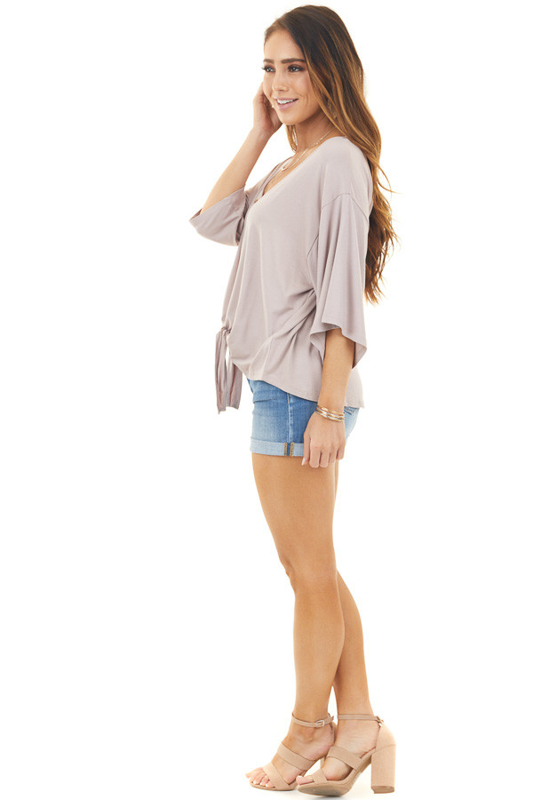 Mauve Button Up Knit Top with Front Knot Detail side full body