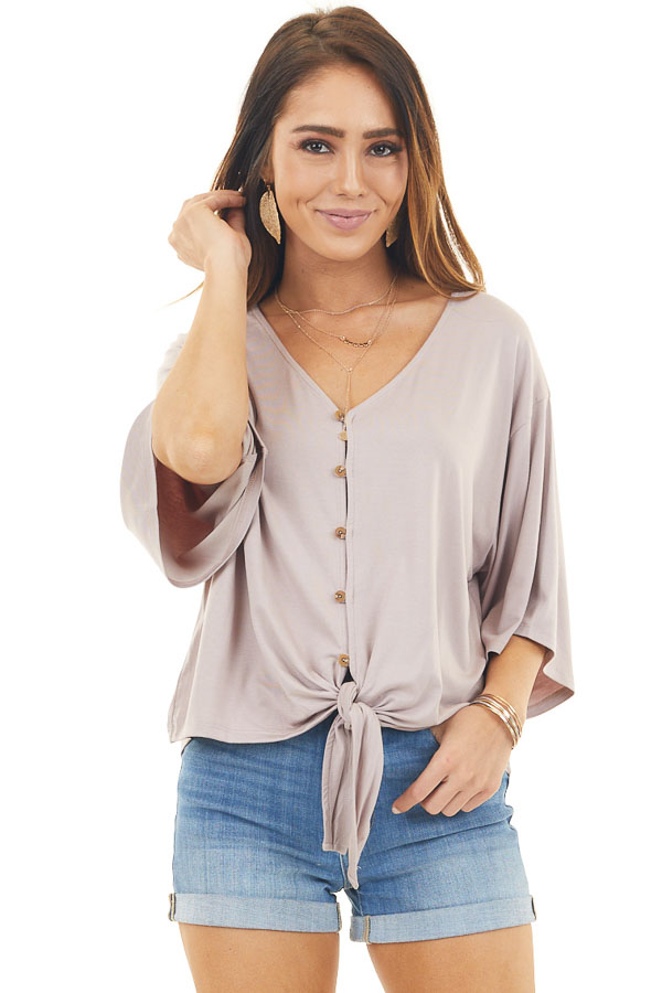 Mauve Button Up Knit Top with Front Knot Detail front close up