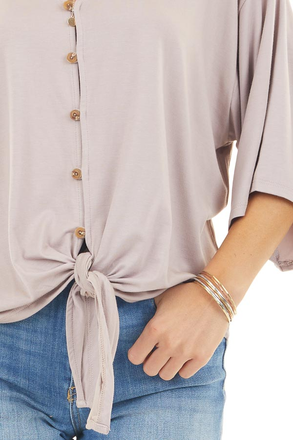 Mauve Button Up Knit Top with Front Knot Detail detail