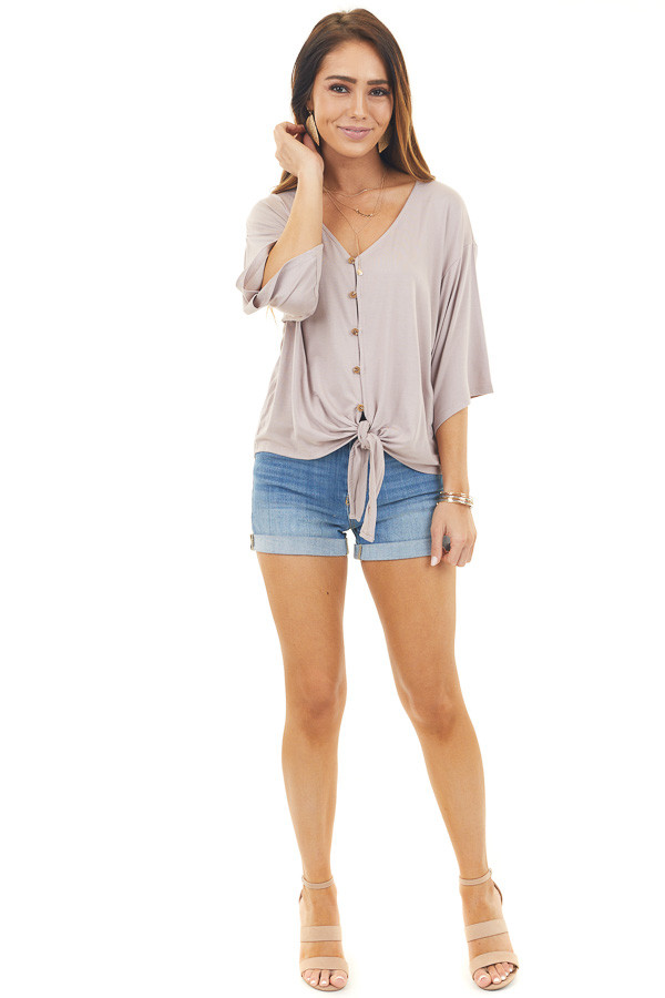Mauve Button Up Knit Top with Front Knot Detail front full body