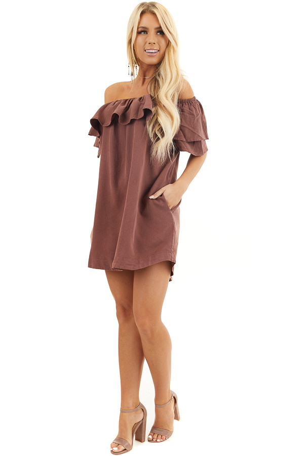 Dark Sienna Ruffle Off the Shoulder Mini Dress with Pockets front full body