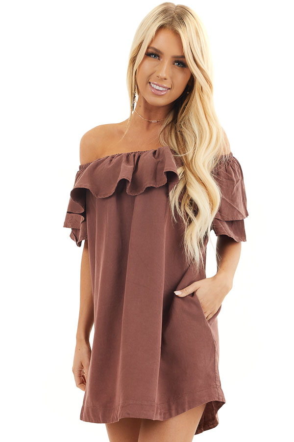 Dark Sienna Ruffle Off the Shoulder Mini Dress with Pockets front close up