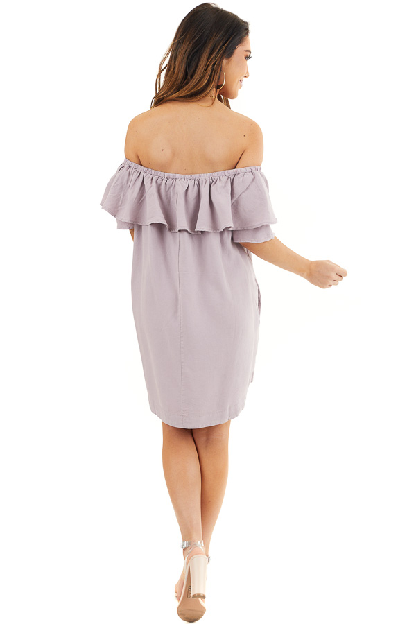Lavender Ruffle Off the Shoulder Mini Dress with Pockets back full body
