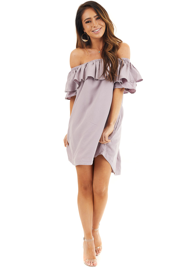 Lavender Ruffle Off the Shoulder Mini Dress with Pockets front full body