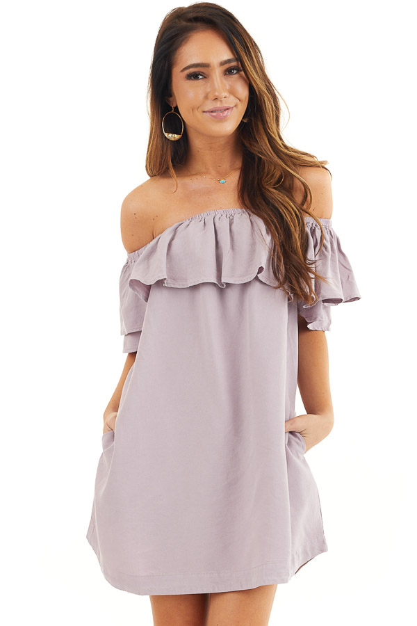Lavender Ruffle Off the Shoulder Mini Dress with Pockets front close up
