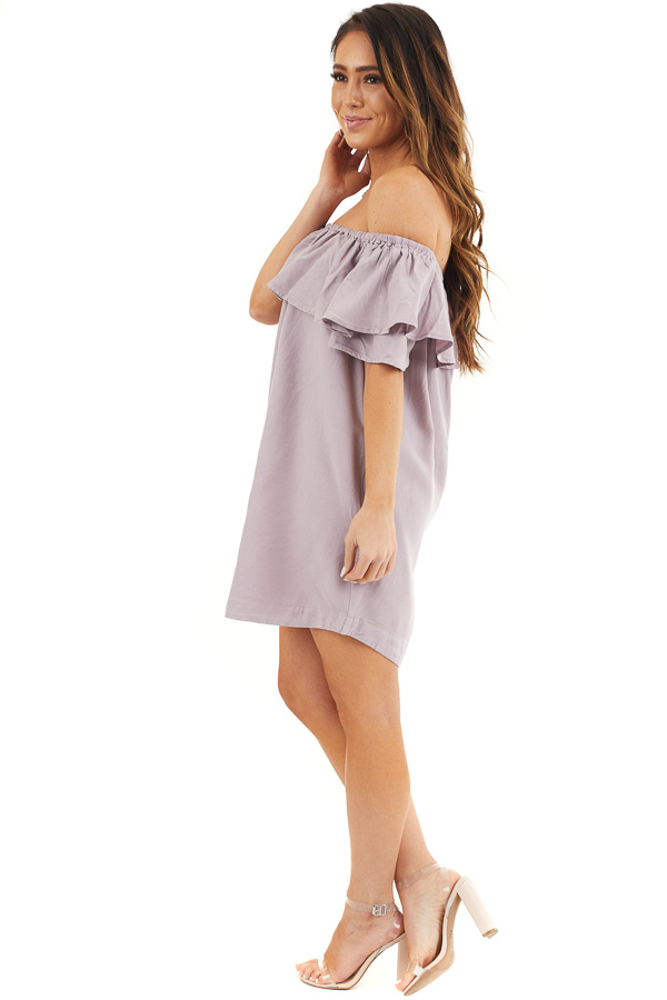 Lavender Ruffle Off the Shoulder Mini Dress with Pockets side full body