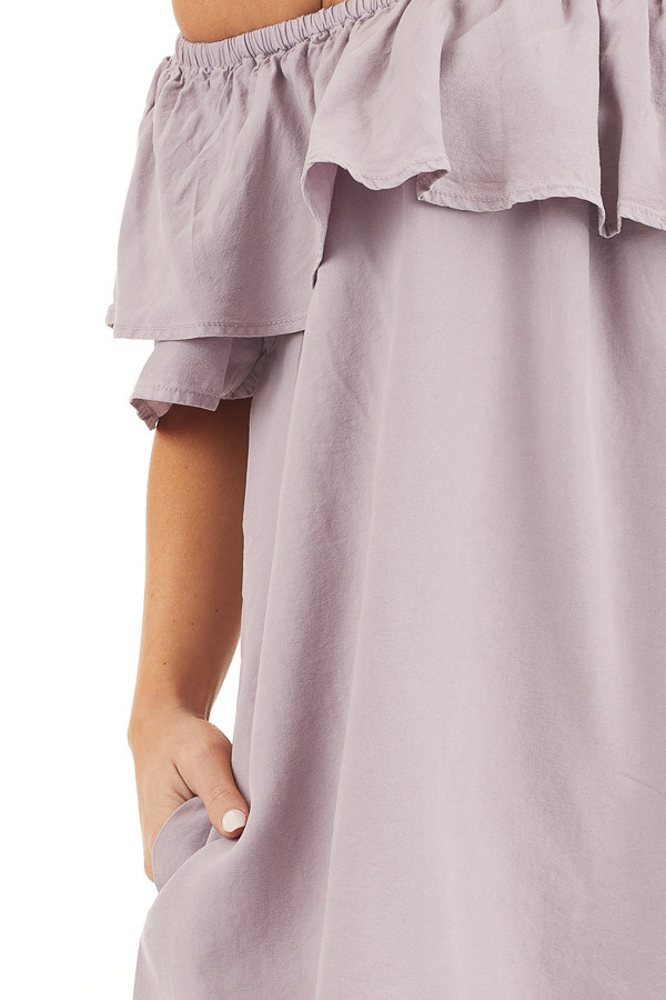 Lavender Ruffle Off the Shoulder Mini Dress with Pockets detail