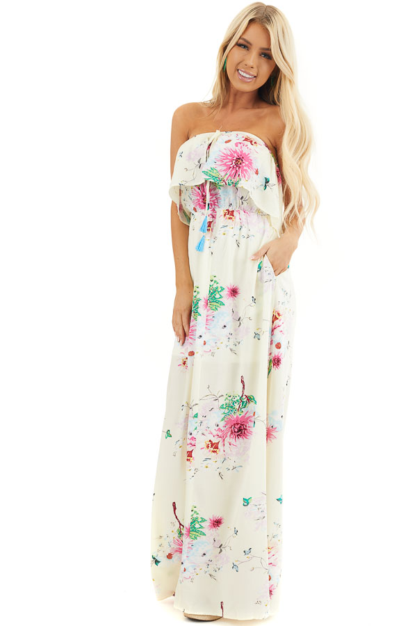 Champagne Floral Print Off Shoulder Overlay Maxi Dress front full body