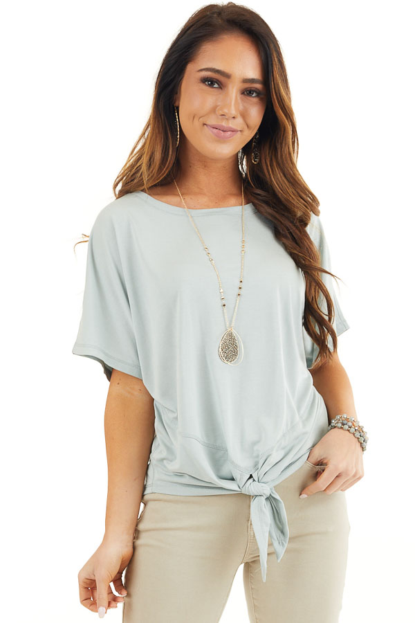 Soft Sage Short Sleeve Knit Top with Front Knot Detail front close up