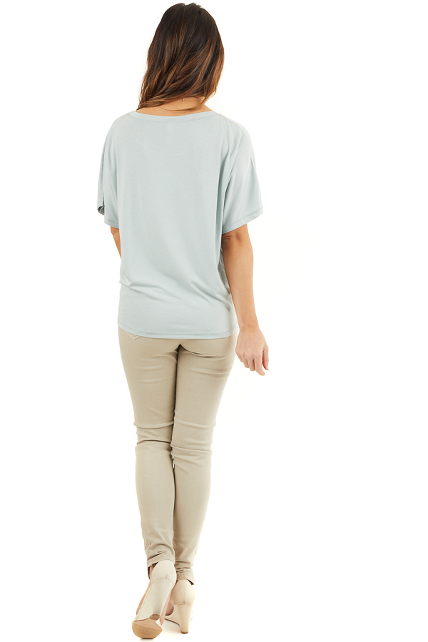 Soft Sage Short Sleeve Knit Top with Front Knot Detail back full body