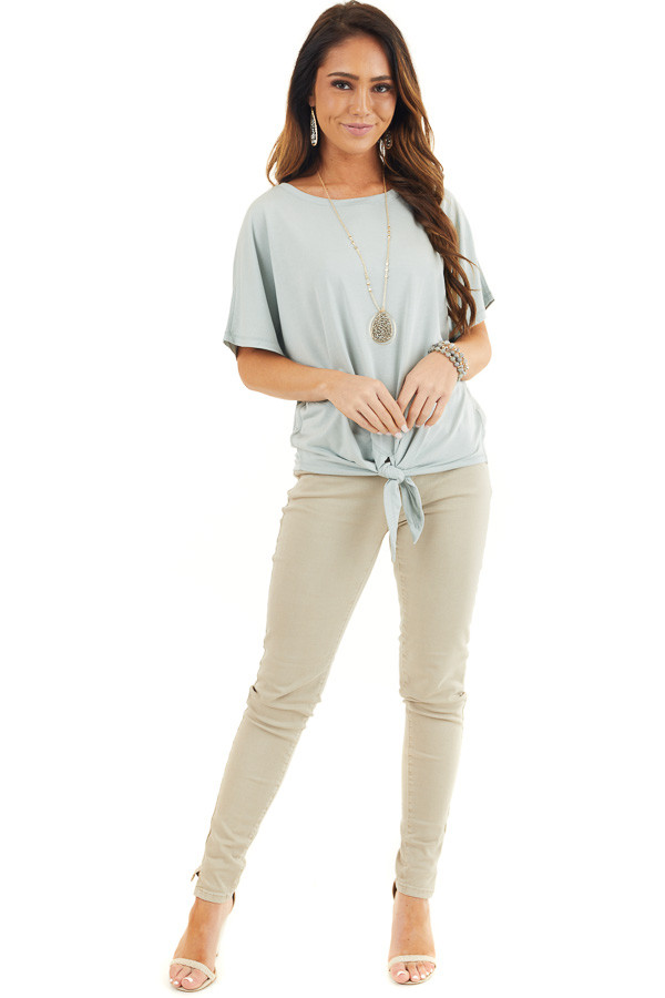 Soft Sage Short Sleeve Knit Top with Front Knot Detail front full body