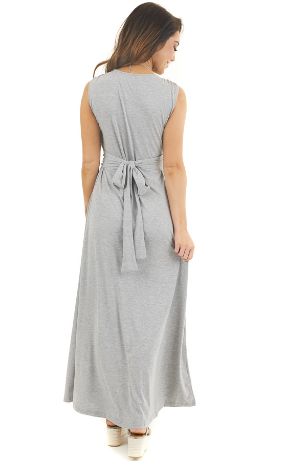 Heather Grey Sleeveless Knit Dress with Waist Tie Detail back full body