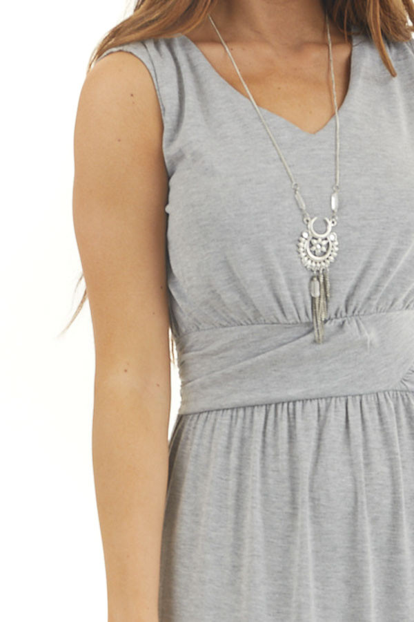 Heather Grey Sleeveless Knit Dress with Waist Tie Detail