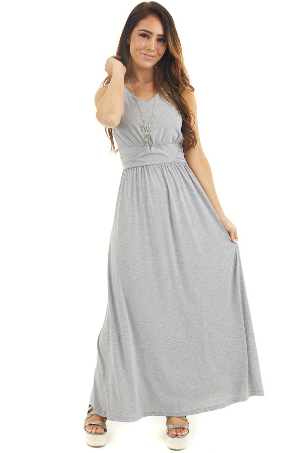 Heather Grey Sleeveless Knit Dress with Waist Tie Detail front full body