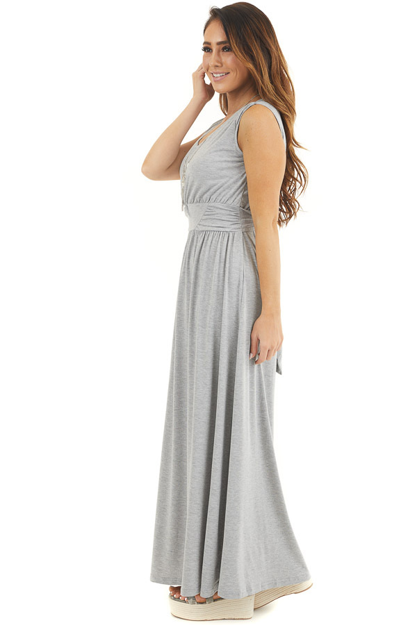 Heather Grey Sleeveless Knit Dress with Waist Tie Detail side full body