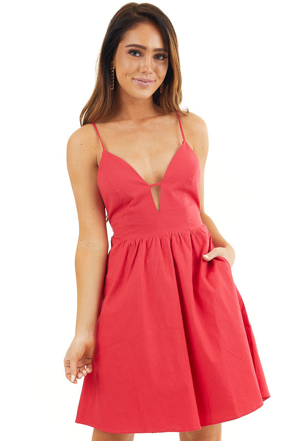 Crimson Red Sleeveless V Neck Mini Dress with Open Back Tie front close up
