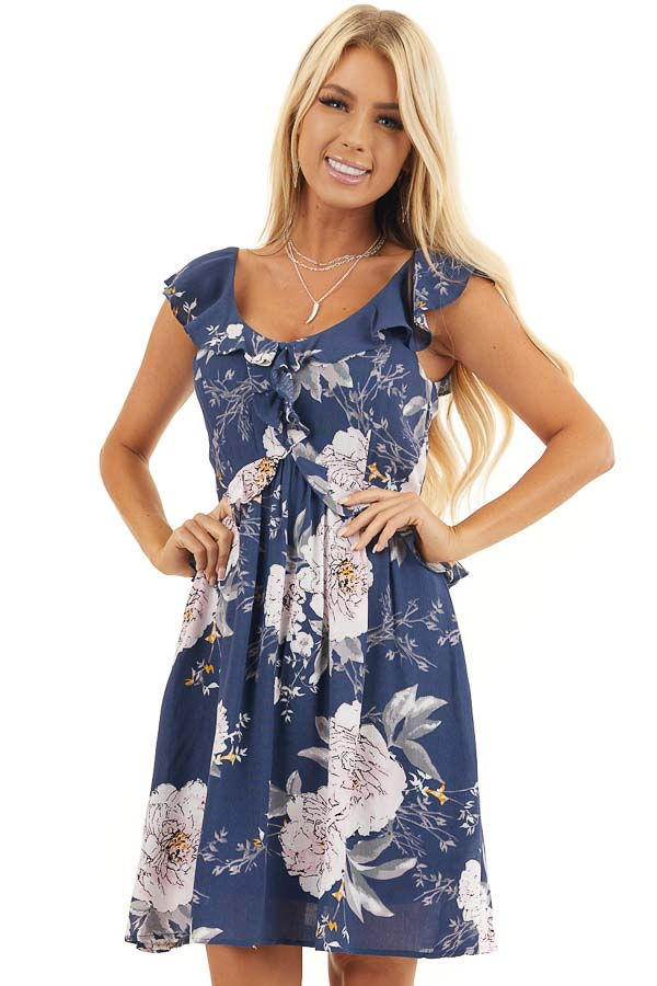 Navy Floral Dress with Ruffle and Button Details front close up