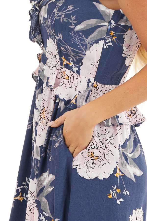 Navy Floral Dress with Ruffle and Button Details detail