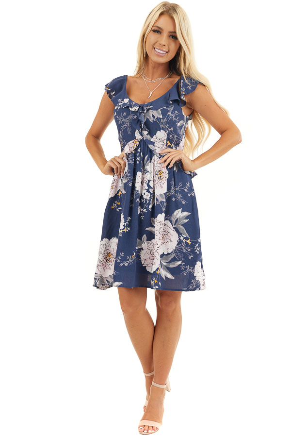Navy Floral Dress with Ruffle and Button Details front full body