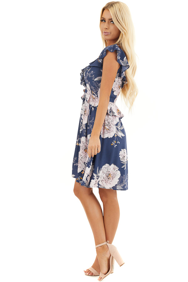 Navy Floral Dress with Ruffle and Button Details side full body
