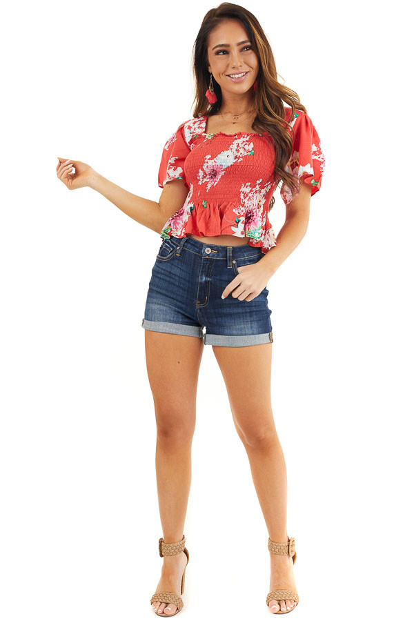 Tomato Red Floral Print Smocked Crop Top with Short Sleeves front full body