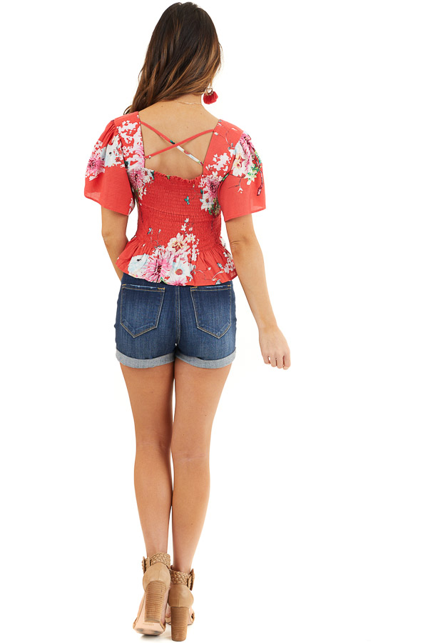 Tomato Red Floral Print Smocked Crop Top with Short Sleeves back full body