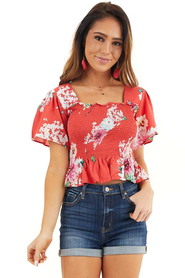 Tomato Red Floral Print Smocked Crop Top with Short Sleeves front close up