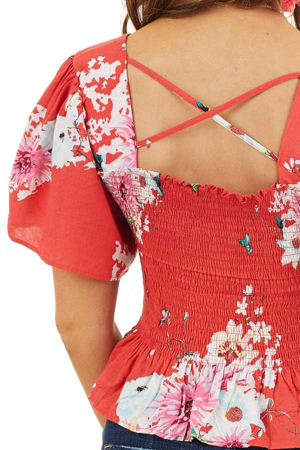 Tomato Red Floral Print Smocked Crop Top with Short Sleeves detail