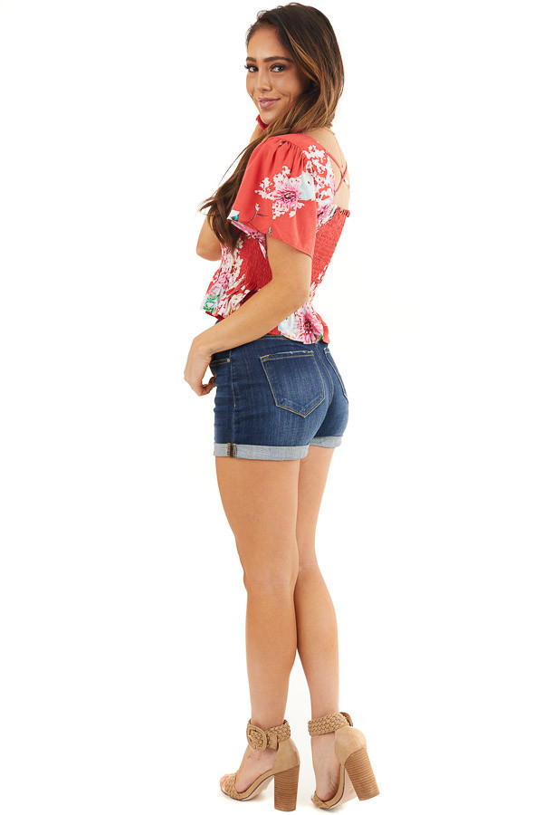 Tomato Red Floral Print Smocked Crop Top with Short Sleeves side full body