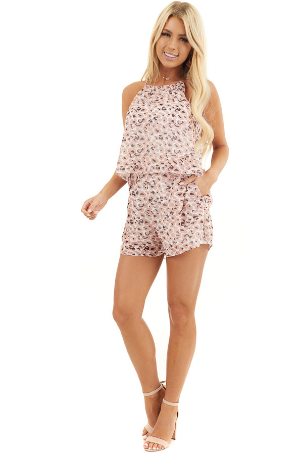 Peach Animal Print Halter Top Romper with Overlay Detail front full body