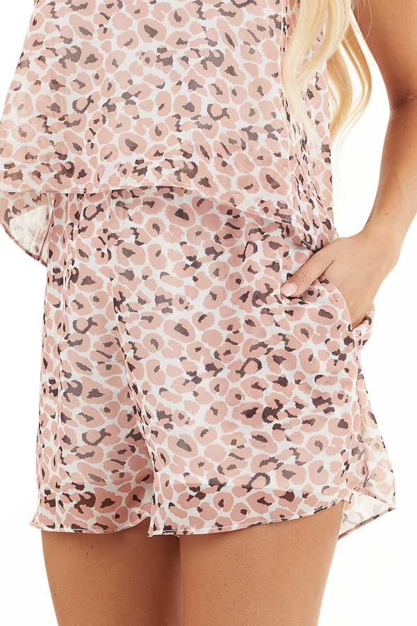 Peach Animal Print Halter Top Romper with Overlay Detail detail