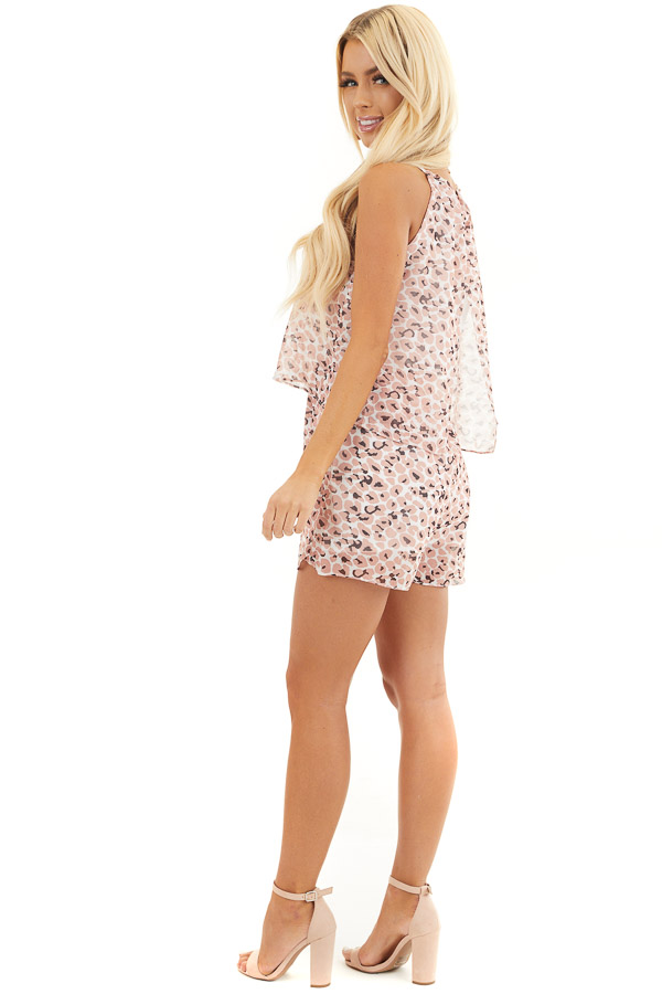 Peach Animal Print Halter Top Romper with Overlay Detail side full body