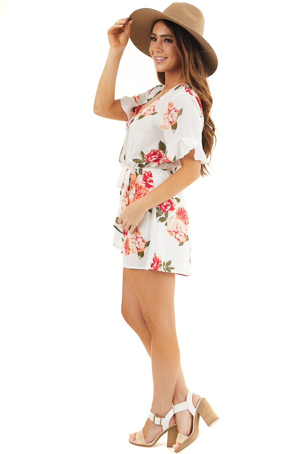 Off White and Salmon Floral Surplice Romper with Waist Tie side full body
