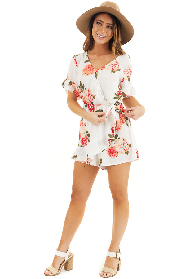 Off White and Salmon Floral Surplice Romper with Waist Tie front full body