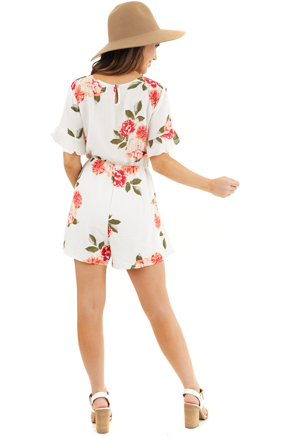 Off White and Salmon Floral Surplice Romper with Waist Tie back full body