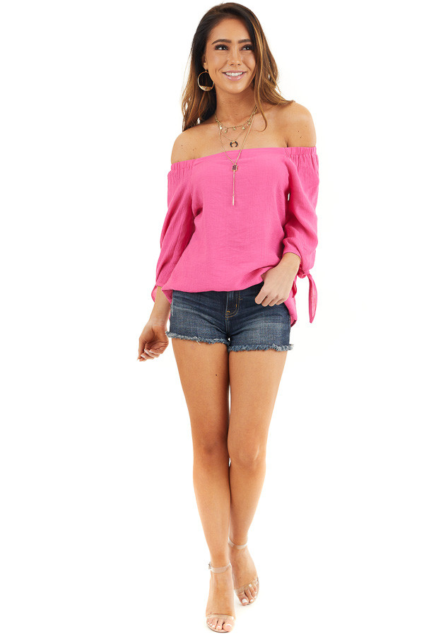 Fuchsia Off Shoulder Textured 3/4 Sleeve Top with Tie Detail front full body