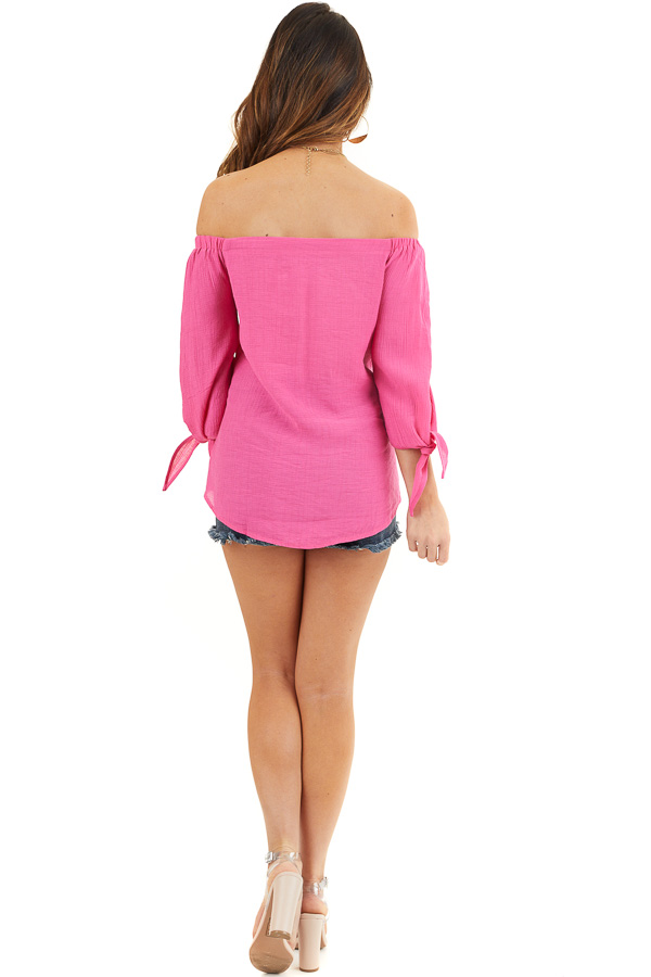 Fuchsia Off Shoulder Textured 3/4 Sleeve Top with Tie Detail back full body
