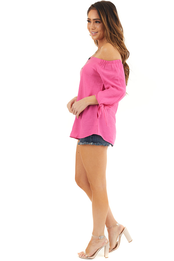 Fuchsia Off Shoulder Textured 3/4 Sleeve Top with Tie Detail side full body