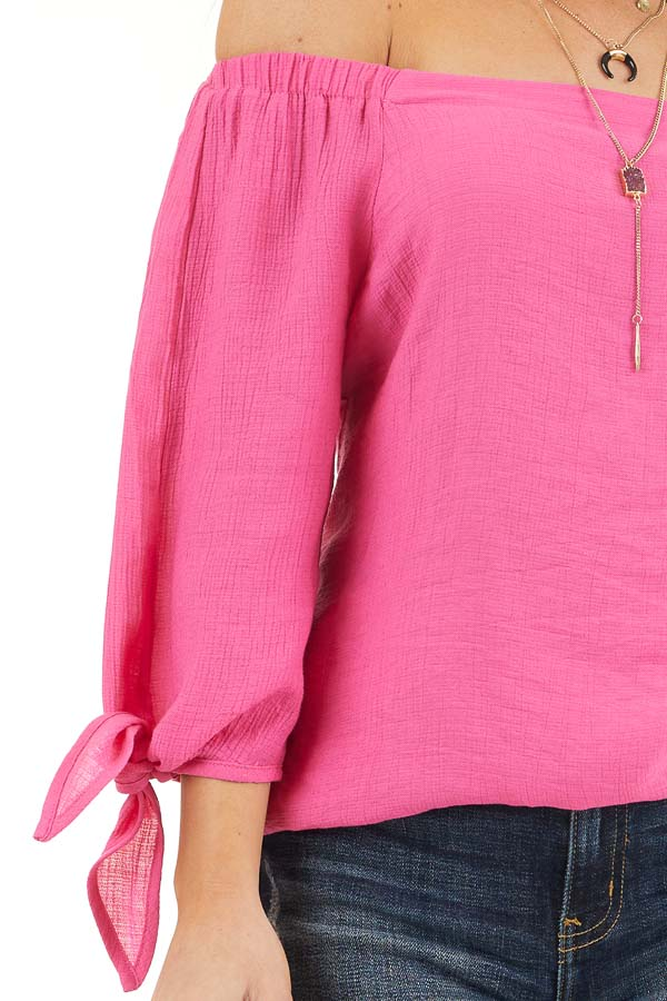 Fuchsia Off Shoulder Textured 3/4 Sleeve Top with Tie Detail detail