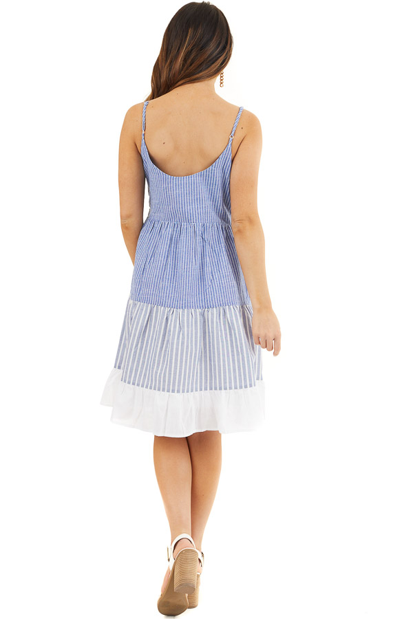 Cobalt Blue and Off White Striped Tiered Dress with Pockets back full body