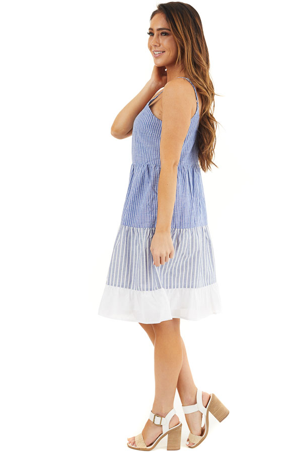 Cobalt Blue and Off White Striped Tiered Dress with Pockets side full body