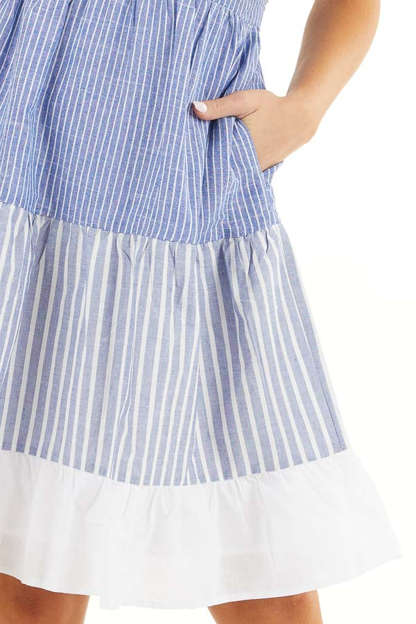 Cobalt Blue and Off White Striped Tiered Dress with Pockets detail