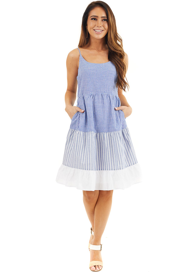 Cobalt Blue and Off White Striped Tiered Dress with Pockets front full body